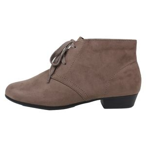 Shoes - Taupe Closed Toe Lace Up Low Heel Ankle Boot